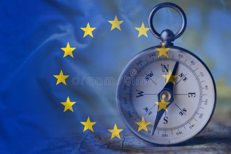 Europese Unie vlag en het kompas royalty-vrije stock afbeelding
