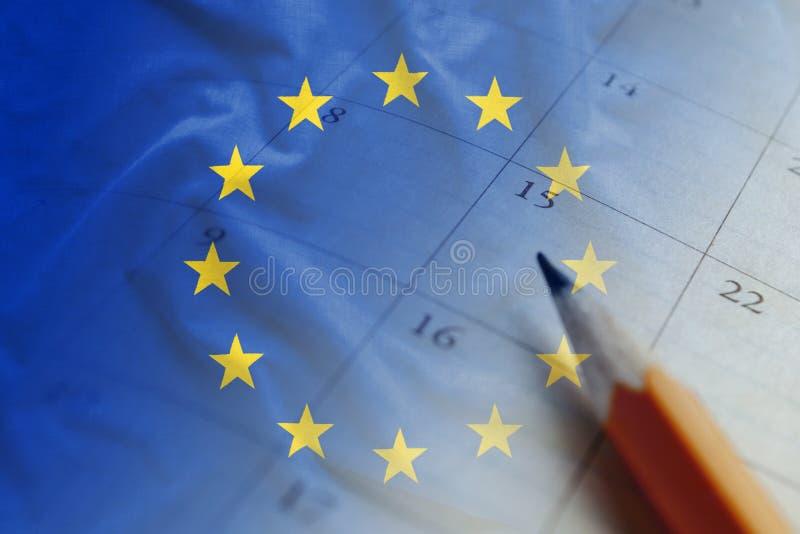 Europese Unie vlag en kalender met potlood royalty-vrije stock foto