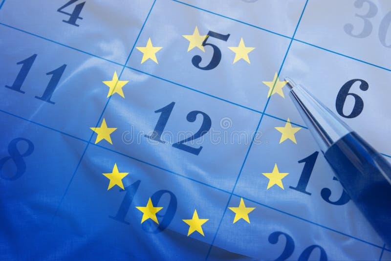 Europese Unie vlag en kalender met potlood royalty-vrije stock afbeeldingen