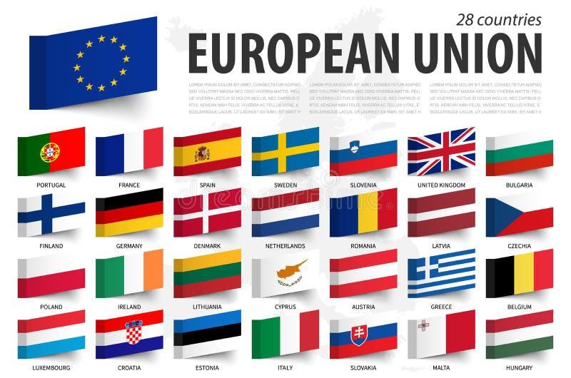 Europese Unie vlag en lid Kleverig notaontwerp De Kaartachtergrond van Europa Vector royalty-vrije illustratie
