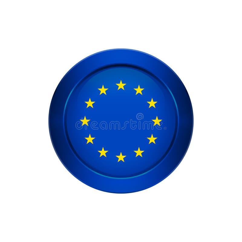 Europese Unie vlag op de ronde knoop, illustratie vector illustratie