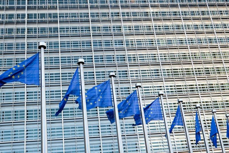 Europese vlaggen in Brussel stock afbeeldingen