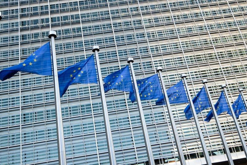 Europese vlaggen in Brussel royalty-vrije stock afbeeldingen