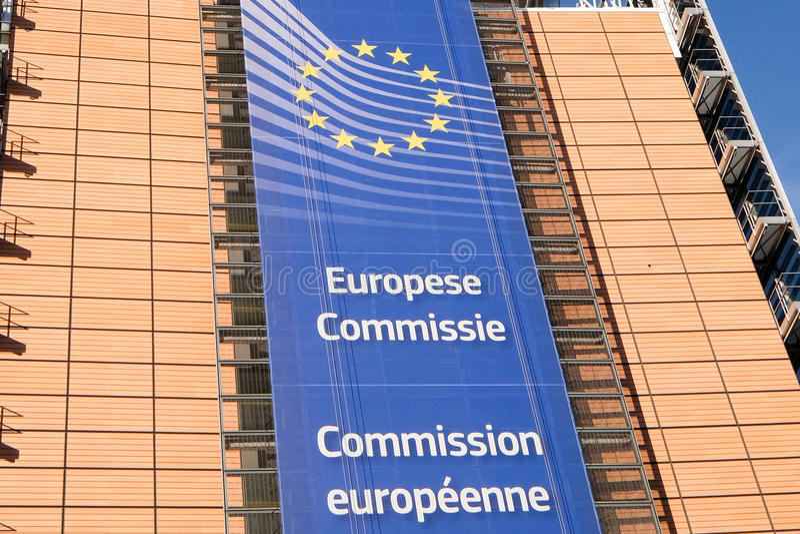 Europese vlaggen in Brussel royalty-vrije stock fotografie