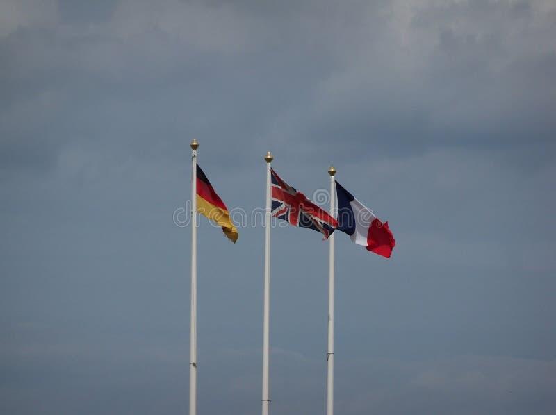 Europese Vlaggen in Cromer in 2014 royalty-vrije stock afbeelding