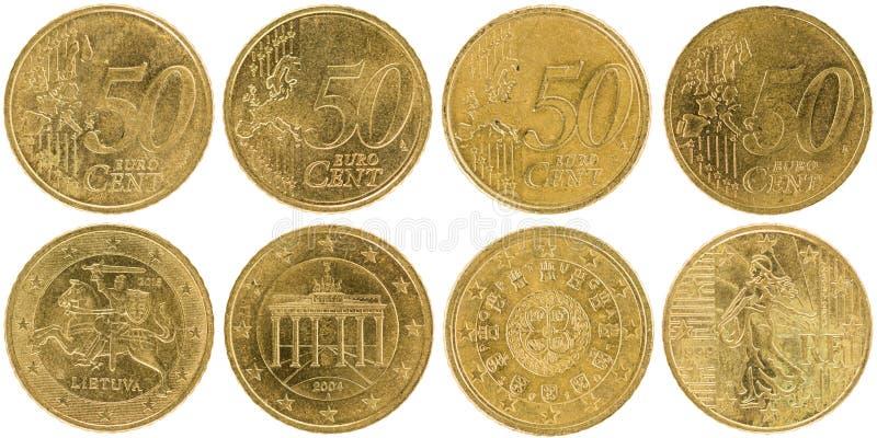 Europeu 50 moedas parte dianteira e parte traseira do centavo isoladas no backgr branco imagens de stock royalty free