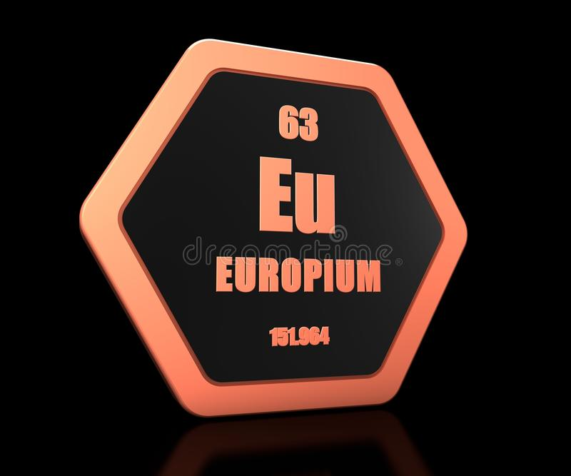 Europium chemical element periodic table symbol 3d render vector illustration