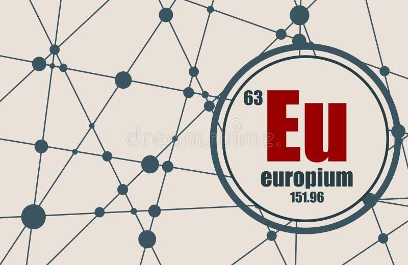 Europium chemical element. vector illustration