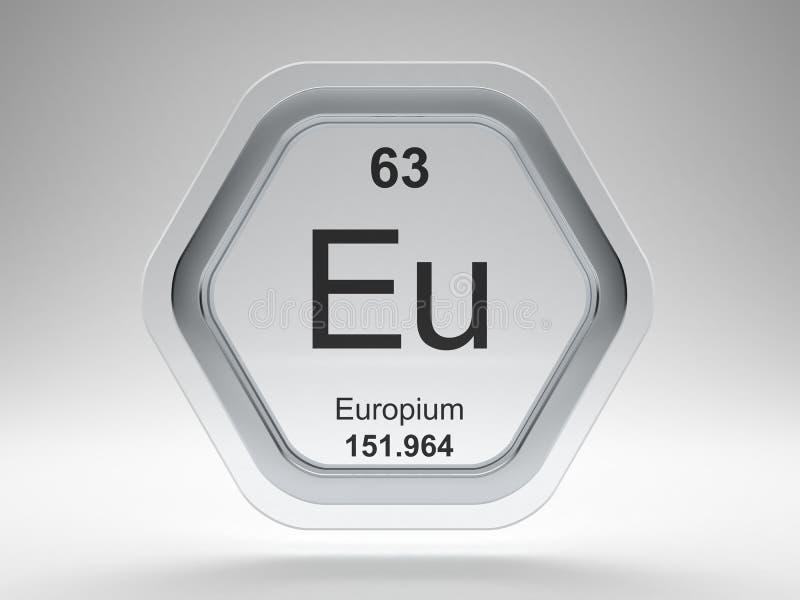 Europium symbol hexagon frame stock illustration