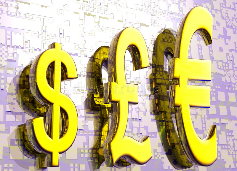 Europound-Dollar-Symbole im Golddiagramm stock abbildung