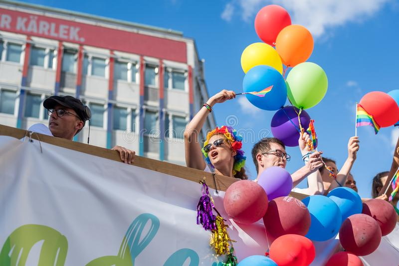 EuroPride 2018 avec Stockholm Pride Parade photographie stock