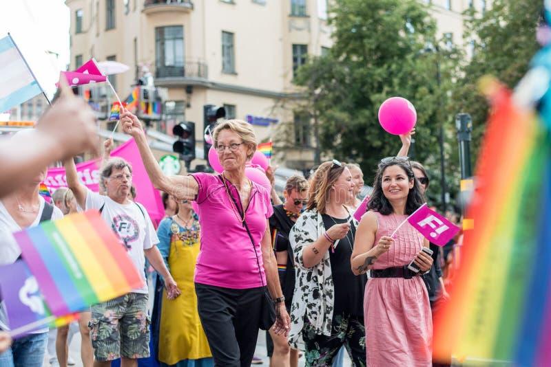 EuroPride 2018 com Éstocolmo Pride Parade fotos de stock royalty free