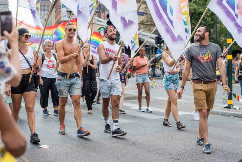 EuroPride 2018 mit Stockholm Pride Parade lizenzfreies stockbild