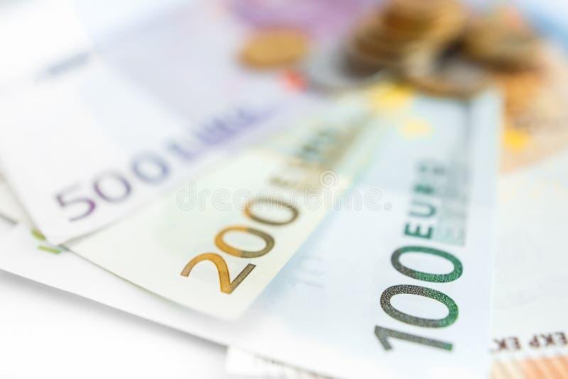 Euroräkningar för bakgrund allra arkivfoton