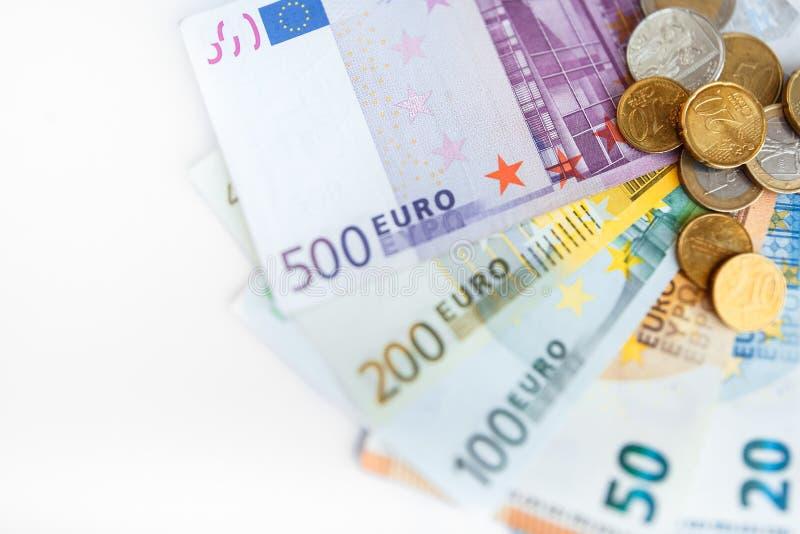Euroräkningar för bakgrund allra royaltyfri fotografi