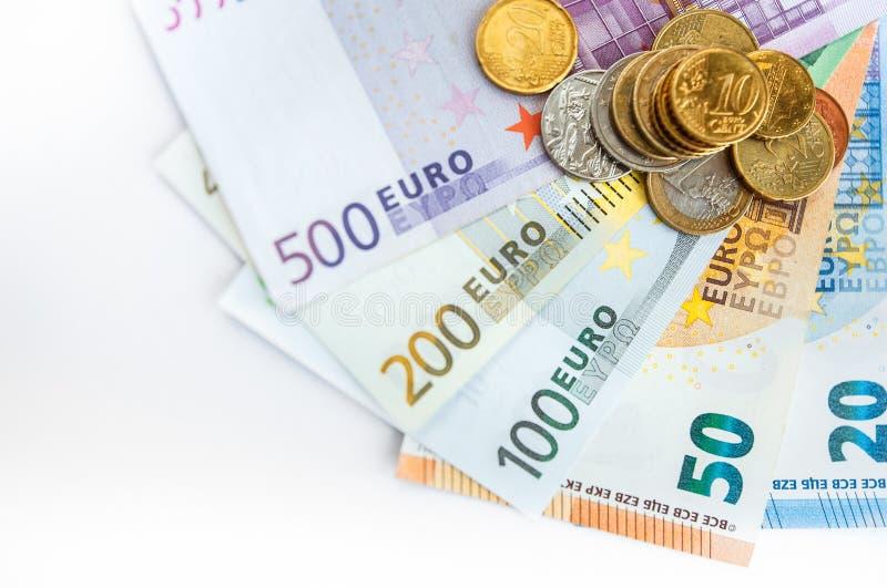 Euroräkningar för bakgrund allra royaltyfri bild