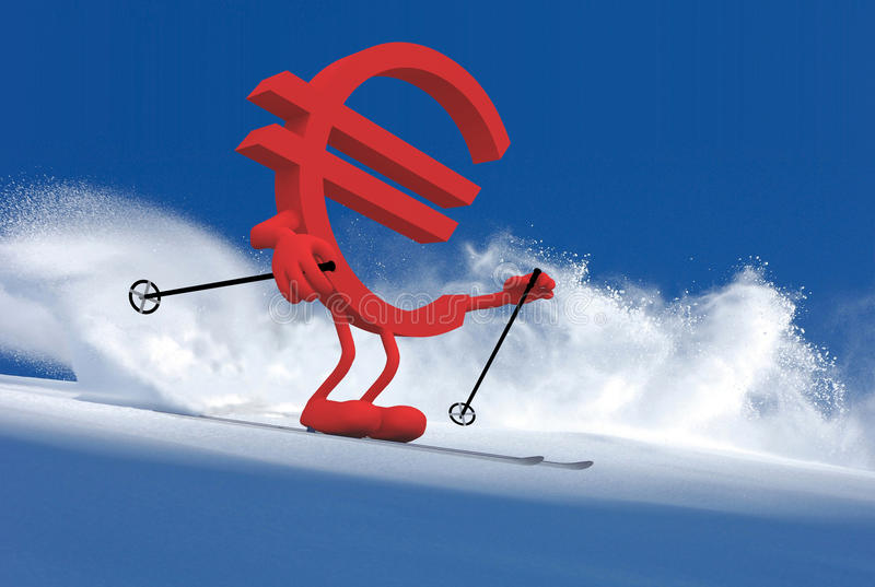 Euror sign with arms and legs that is skiing. Euro sign with arms and legs that is skiing flat style, 3d illustration royalty free illustration