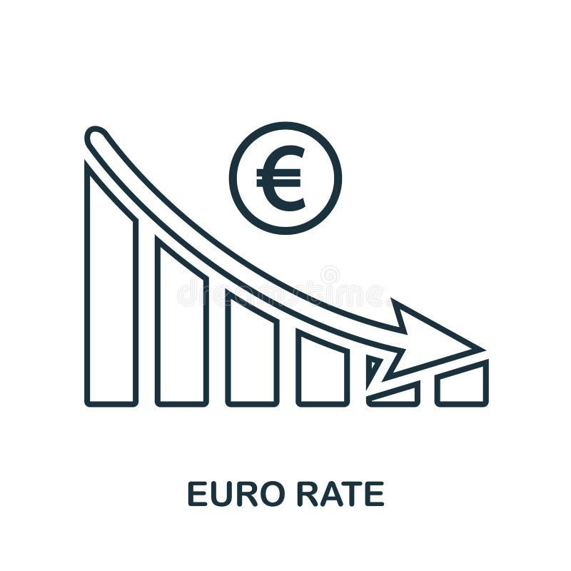 EuroRate Decrease Graphic symbol Mobil app, printing, webbplatssymbol Enkel beståndsdelallsång Monokromt euro Rate Decrease Graph stock illustrationer