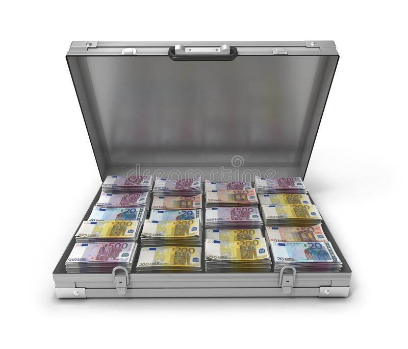 Eurorechnungen im Koffer 3d vektor abbildung