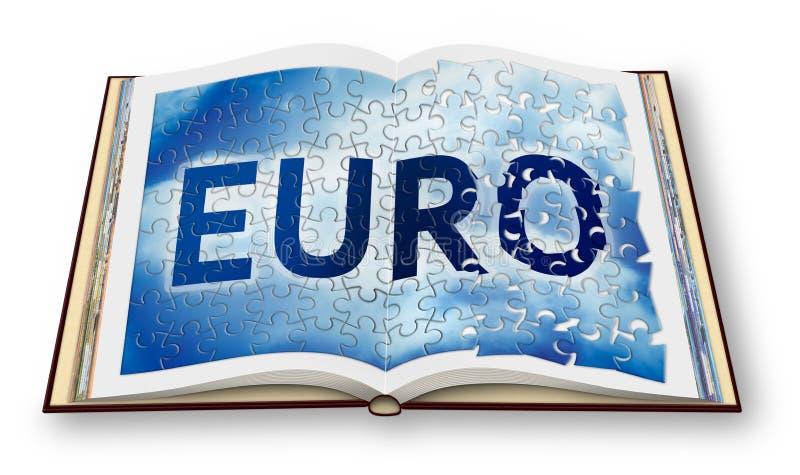 Eurorekonstruktionen - begreppsbild med 3D framför av en öppnad fotobok - jag är copyright-ägaren av bilderna som in används stock illustrationer
