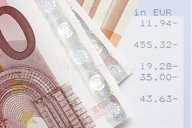 Euros and account statements. Cash royalty free stock photos
