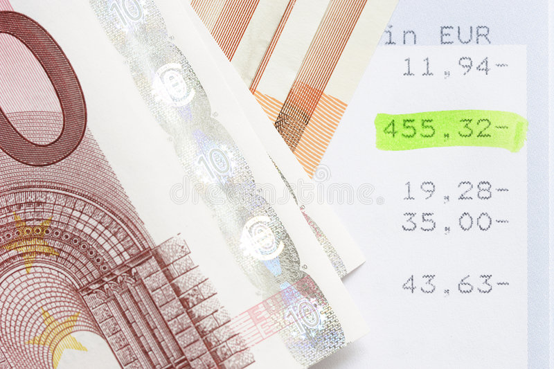 Euros and account statements. Cash stock image