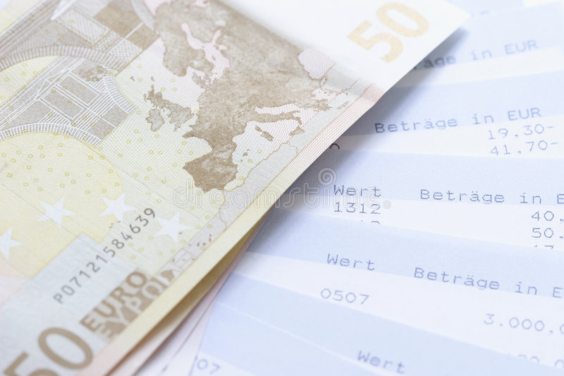 Euros and account statements. Cash stock photos