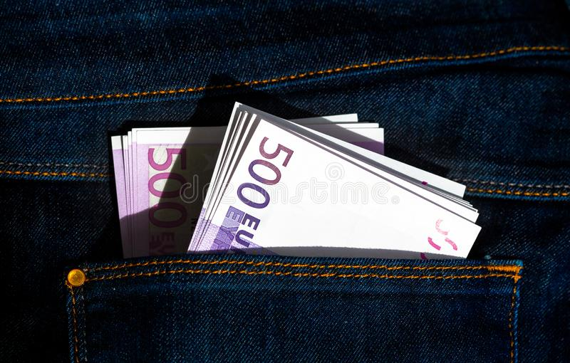 500 euros banknotes in a jeans pocket royalty free stock photos