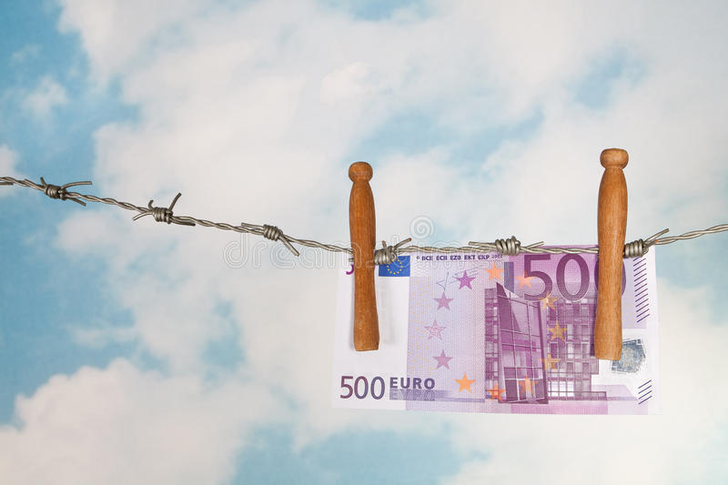 Euros On Barbed Wire Royalty Free Stock Image