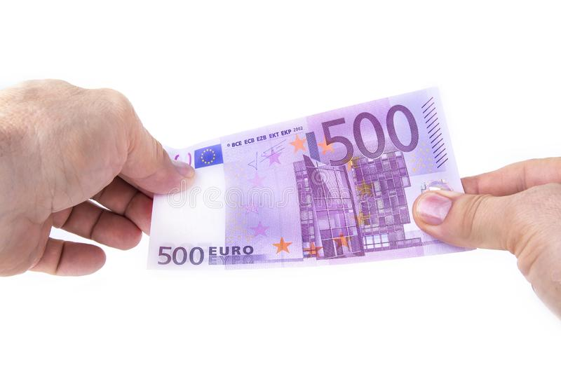 500 euros bill on a white background royalty free stock images