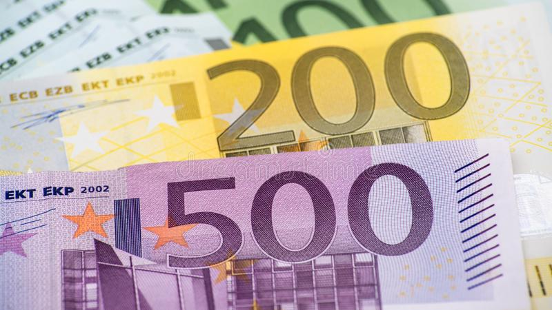 Euros bills of different values. Euro bill of five hundred royalty free stock photo