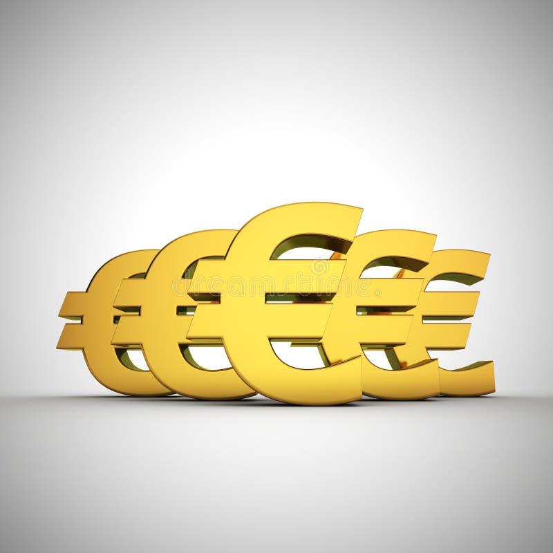 Euros bulge. Five euros signs arrangement in bulge royalty free illustration