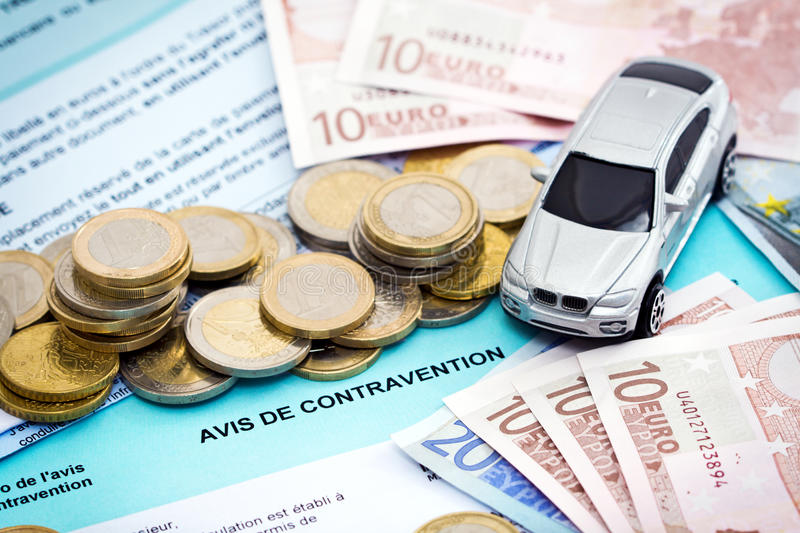 Euros Car Traffic Ticket Stock Photography