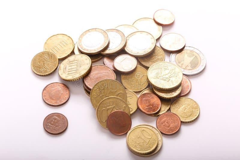 Euros coins. Coins Euros over white background stock photo
