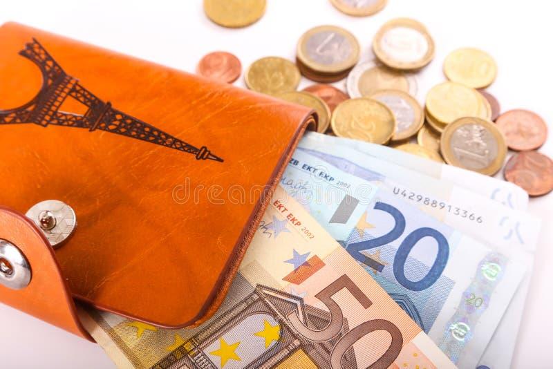Euros da carteira do curso - França fotografia de stock royalty free