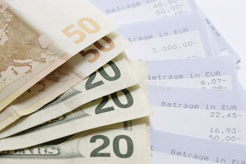 Euros, Dollars and Account statements. Cash stock photos