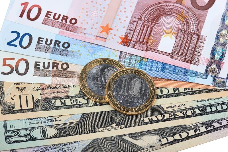 Euros, dollars et roubles photos libres de droits