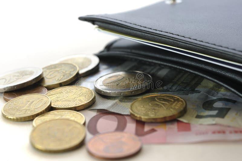 Euros et portefeuille images libres de droits