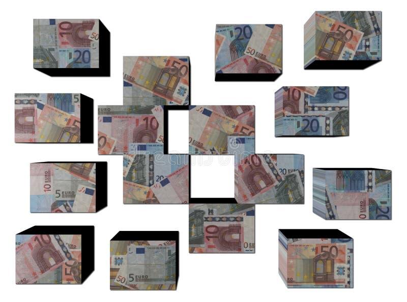Euros europeos en los cubos ilustración del vector