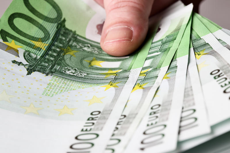 Euros in hand royalty free stock image