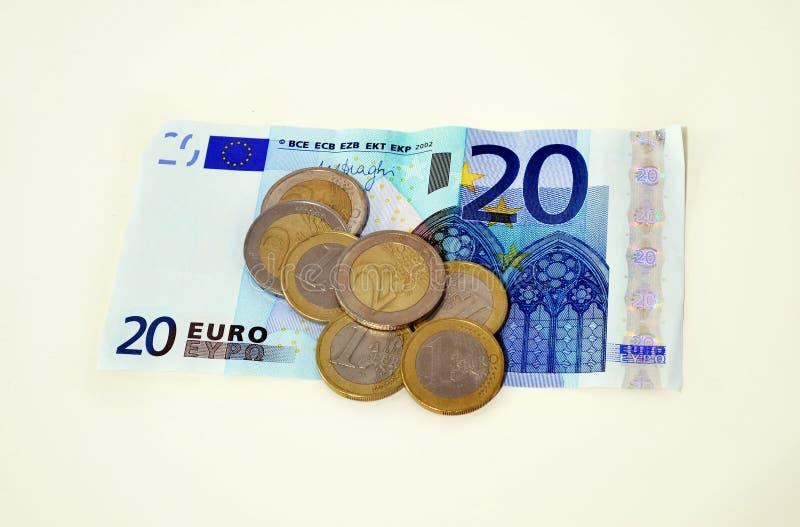 Euros icon, save money concept, debt concept. Twenty euros and coins icon, save money concept, debt concept royalty free stock image