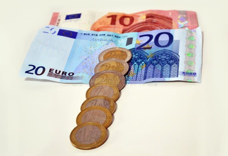 Euros icon, save money concept, debt concept. White background stock photos