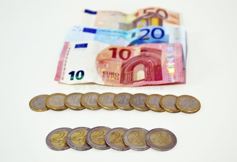 Euros icon, save money concept, debt concept. White background royalty free stock image