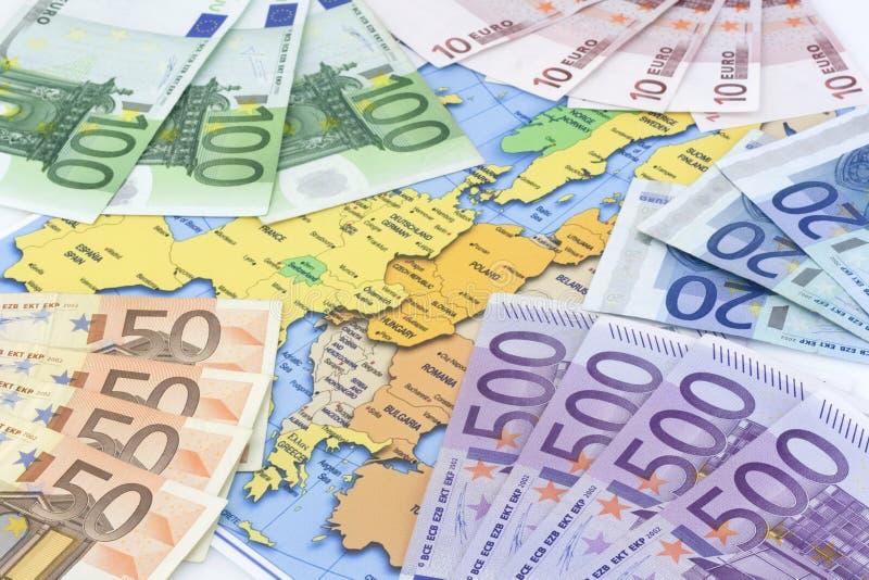 Euros at map royalty free stock photos
