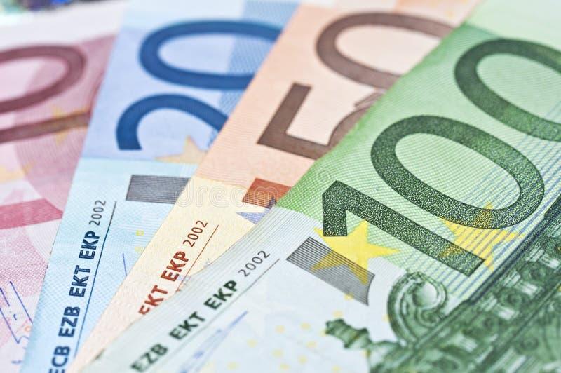 Euros money banknotes. Close up of euros money banknotes stock image