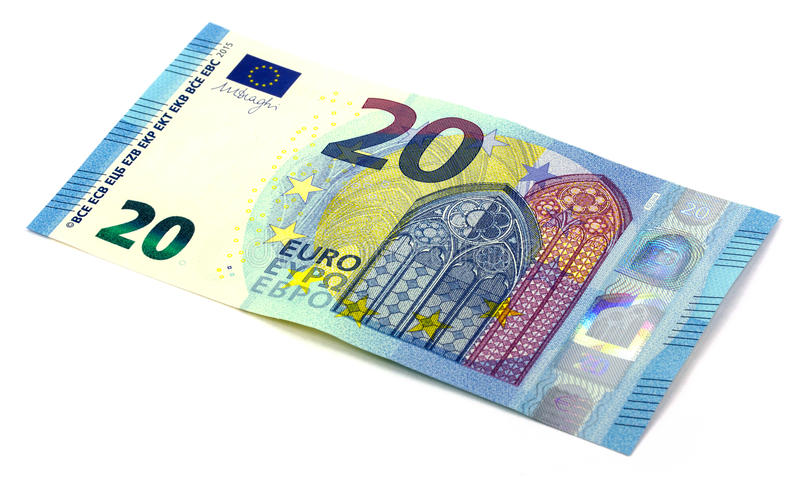 20 euros a new version. On a white background royalty free stock photography