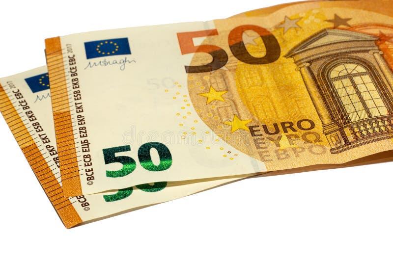 50 euros num fundo branco Ucrânia, Kiev 21 10º 2019 fotos de stock royalty free