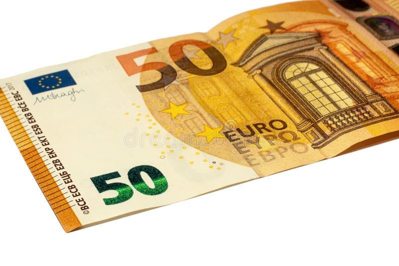 50 euros num fundo branco Ucrânia, Kiev 21 10º 2019 fotos de stock