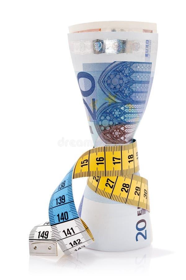 Euros och måttband royaltyfria foton
