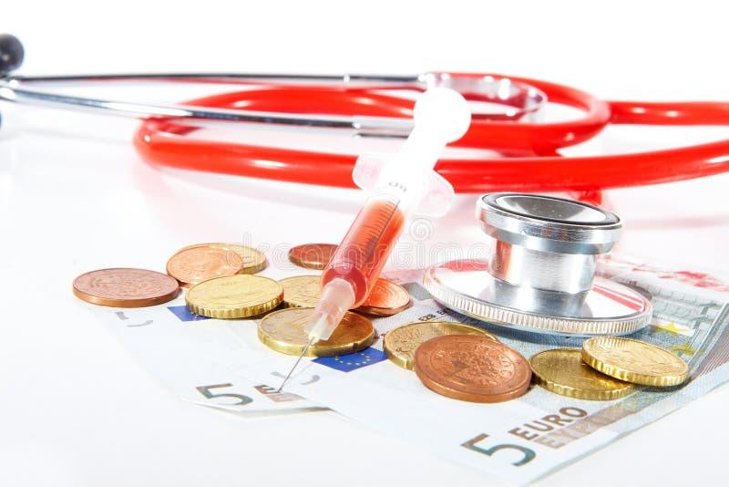 Euros para el cuidado médico fotos de archivo